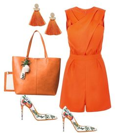 A fashion look from February 2018 featuring special occasion jumpsuits, orange pumps and pineapple tote. Browse and shop related looks. Casual Fall Outfits, Classy Outfits, Outfits For Teens, Chic Outfits, Casual Wear, Summer Outfits, Fashion Outfits, Summer Clothes, Black Women Fashion