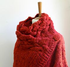 hand knit cardigan RIONA coat brick wool cowl neck indian red by OvejaNegra on Etsy Go Shopping, Cowl Neck, Knit Cardigan, Hand Knitting, Brick, Wool, Trending Outfits, Crochet, Indian