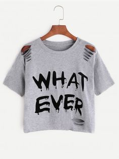 Grey Letter Print Ripped T-shirt | WithChic