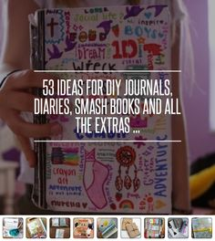 53 Ideas for DIY Journals, Diaries, Smash Books and All the Extras . Journal D'art, Wreck This Journal, Creative Journal, Journal Prompts, Art Journals, Bullet Journals, Mini Albums, Bujo, Journaling