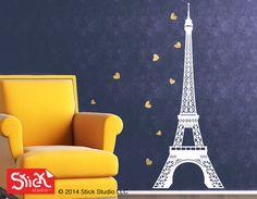 Eiffel tower decal Gold metallic  hearts decal by StickStudioLLC, $38.00