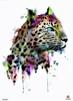 Tiger Jaguar Watercolor Wild Animal Hunt Colorful - Make up Kunstblut Idee Big Cat Tattoo, Fake Tattoo, Temporary Tattoo, Watercolor Animals, Watercolor Art, Jaguar Tier, Aquarell Tattoos, Tattoo Zeichnungen, Image Blog