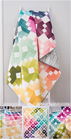 Ombre Gems quilt pattern by Emily of quiltylove.com. This bright and colorful quilt pattern uses ombre fabrics to create a visually stunning quilt using traditional piecing. Jelly roll friendly quilt pattern.