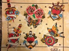 Flash designs available for tattoos carolinebeet@yahoo.co.uk #tattoo #oldschooltattoo #traditionaltattoo #rosetattoo #daggertattoo #tattooflash #flash