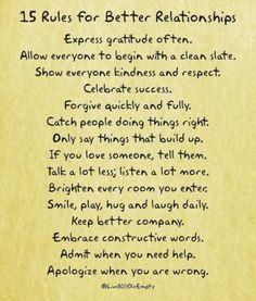 15 rules for better relationships