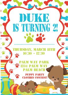 Girls Dog Party Invitations Party invitations Dog and Girls
