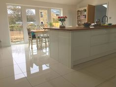 Super White Polished Porcelain - Floor Tiles from Tile Mountain Small Kitchen Diner, Small Open Plan Kitchens, Open Plan Kitchen Dining Living, Kitchen Tiles, Kitchen Flooring, Kitchen Design, White Porcelain Tile, Porcelain Floor, Shiny Tile Floors
