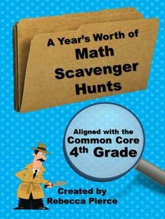 13 Math Scavenger Hunts for the 4th grade Common Core including: rounding, multiplication, division, fractions, decimals, and geometry. $ #commoncore #scavengerhunts
