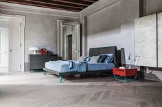 Bed AMLET / drawer chest TO BE / bedside table TO BE by Bonaldo www.bonaldo.it  #bonaldo #italy #madeinitaly #interiordesign #design #interior #designew #new #bed #table #fabric #metal #red #blue #grey bedroom #home #collection #comfort #modern #colorful