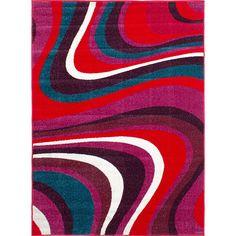 eCarpetGallery Moda Pink/Red Polypropylene Rug (5'2 x 7'2) (Pink, Red Dark Pink, Red Rug (5' x 7')), Black, Size 5' x 7'