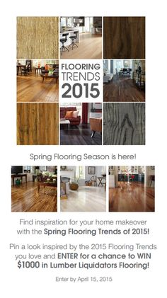 Check out the latest flooring styles & enter the Spring Flooring Trends 2015 Lumber Liquidators, Dreams Do Come True, 2015 Trends, Modern Interiors, Wood Flooring, Spring Trends, Design Concepts, Rustic Modern, Eye Candy