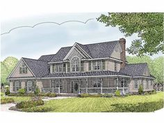 Country House Plan with 2984 Square Feet and 5 Bedrooms(s) from Dream Home Source | House Plan Code DHSW66194