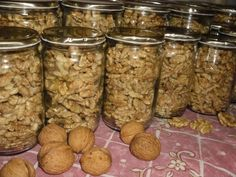 Preserving walnuts in glass Dog Food Recipes, Dessert Recipes, Cooking Recipes, Vegan Recipes, Czech Recipes, Salty Foods, Meals In A Jar, Sweet Desserts, Food 52