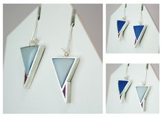 Angelina Jane- Geometric sliver and resin earrings with interchangeable dual coloured surfaces Beautiful Outfits, Beautiful Clothes, Contemporary Jewellery, Resin Jewelry, Color Change, Red And Blue, Drop Earrings, Silver, Gifts