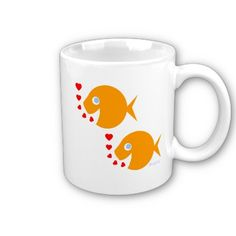 Anniversary mug features two cute goldfish swimming in tandem.  Affordable anniversary gift for mom and dad. Buy a set of two, one for each! $15.70 each. #anniversary #goldfish #mug #coffeemug What's on SALE TODAY at my shop? Use BARGAIN CODES found at the top of my Zazzle pages! __>  http://www.zazzle.com/swisstoons?rf=238575599056059205=zBookmarklet
