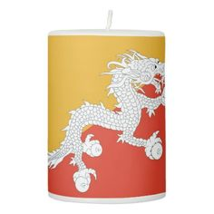 Pillar Candle flag of Bhutan - light gifts template style unique special diy