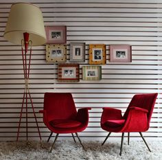Modern Retro Italian Style Corner House, Red Art, Shades Of Red, Italian Style, Mid Century Design, Vintage Designs, Retro Fashion, New Homes, Interior Design