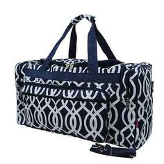 Duffle Bag, Vine Pattern, Navy and White