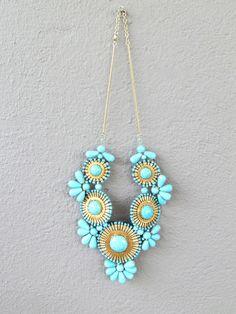 statement necklace – blue   Redinfred