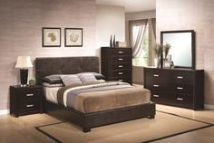 Coaster Andreas Dark Brown Faux Leather 4 Pcs Eastern King Bedroom Set