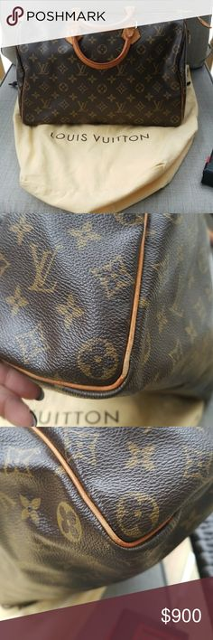 Authentic Louis Vuitton Speedy 35 Beautiful bag. I cannot say enough about this bag. Purchased about 10 years ago from Louis Vuitton. I do not have the receipt. Original lock and key included. The dust bag is also included. I used this bag for a little while and then it was stored. Please see the pics for wear. The handles have a beautiful patina. The edges have slight wear as seen in the pics. Please see my other posting for pics of the inside for further description . They would not fit on…