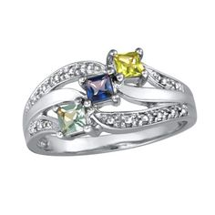 Ladies' Sterling Silver Shine Family Simulated Birthstone Ring by ArtCarved® Stones) - View All Personalized Jewelry - Zales Mothers Ring 3 Stone, Mothers Day Rings, Mother Rings, Gold Knot Ring, Ring Set, Gold Bands, White Gold Rings, Personalized Jewelry, Sterling Silver Jewelry