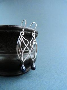 Sapphire dangle Earrings - Sterling silver earrings - Art Nouveau earrings - Elvish jewelry - Romantic gift for women