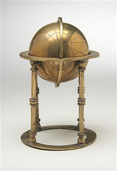 """Celestial Sphere made in either Iran or India, copper alloy, height: 7 in. History Of Astronomy, Celestial Sphere, Persian Culture, Mughal Empire, Globes, Iran, Astrology, Copper, India"