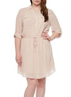 Plus Size Chiffon Midi Dress With Cinched Drawstring Waist,BLUSH