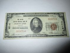 $20 1929 PORTLAND OREGON OR NATIONAL CURRENCY BANK NOTE BILL! CH. #4514 FINE