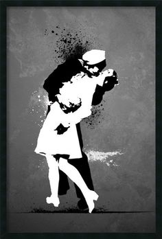 War's End Kiss - Graffiti Framed Painting Print