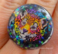 Rainbow Cheetah 90's Lisa Frank Hunter the by GlitterFusion
