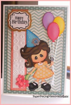 Paper pieced Happy Birthday card created by PAPER PIECING MEMORIES BY BABS. Pattern by My Scrap Chick and stamped sentiment by Craftin Desert Divas..