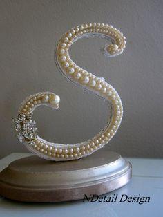 Wedding Cake Topper Monogram Pearl and Rhinestone by NDetailDesign