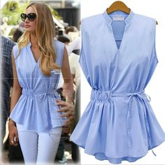 2016 New Summer Womens Blouses Fashion Style Sleeveless Chiffon Shirt V Collar Woman Blouses Shirts Solid Pleated Tops for Women Blouse Styles, Blouse Designs, Casual Outfits, Fashion Outfits, Women's Fashion, Cheap Fashion, Chiffon Shirt, Pleated Shirt, Sleeveless Shirt