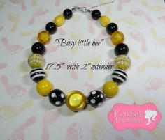 """""""busy little bee"""" Chunky Beaded Necklace Child, Adult, Photo Prop, Spring Summer"""