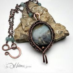 Eye of the Storm, Copper Wire Wrapped Amazonite Pendant with Handmade Chain