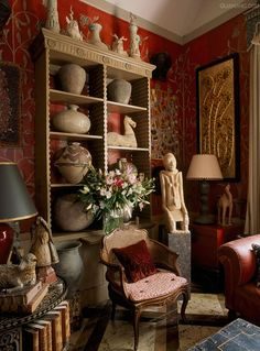 Collectors corner in  English home.