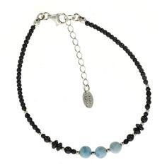 Bracelet HAIMA en argent avec Hématite et Larimar - Blue Stone