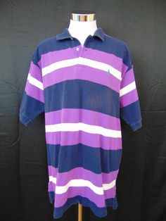 Polo Ralph Lauren Shirt Cotton Purple Stripe Short Sleeve XXL #1045 #PoloRalphLauren #PoloRugby