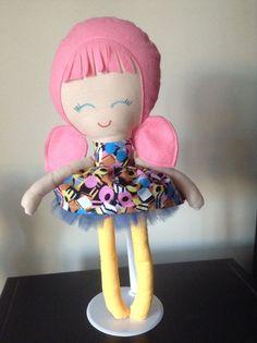 Handmade doll Pink with a retro Liquorice Allsorts dress with Tutu skirt