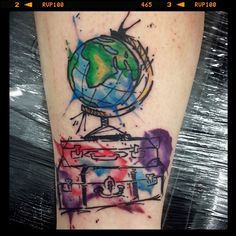 Pin for Later: These 61 Map Tattoos Will Give You Major Wanderlust Globe and Suitcase