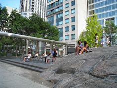 Do you know the story behind the Yorkville Village Park in Toronto and how a one billion years old rock weighting 650 tons was moved rom the Canadian glacial shield and transported in huge fragments on 20 flatbed trailers to this Park? Check it out! Buying And Selling Houses, Toronto Neighbourhoods, Old Rock, Green Landscape, Toronto Canada, Landscape Photos, Ontario, The Neighbourhood, Street View