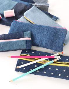 DIY: denim zipper pouches