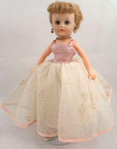1962 UNEEDA TINY TEEN SUZETTE DOLL IN CHIFFON BALL GOWN, JEWELRY, AND SHOES