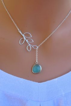 Aqua Blue and Branch Sterling Silver Necklace. by RoyalGoldGifts