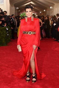 Kris Jenner: The Kardashian-Jenner matriarch made her way down the carpet in a bold-shouldered red gown.