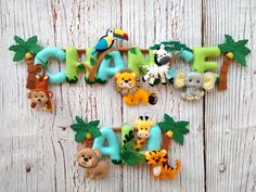 Safari felt name banner / Nursery Decor / Safari nursery / Kids room Personalized name banner Safari animal Name garland Jungle name banner Safari Nursery, Safari Theme, Nursery Decor, Felt Name Banner, Name Banners, Baby Crafts, Felt Crafts, Felt Baby, Felt Toys