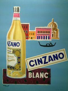 cinzano blanc : 1955 affiches anciennes de VILLEMOT Bernard