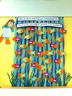 Remember to use the 2 tone streamers for water! Under the Sea Theme Classroom Board, School Bulletin Boards, School Classroom, Classroom Decor, Art School, Class Decoration For Primary, First Day Of School, Back To School, Summer School Themes